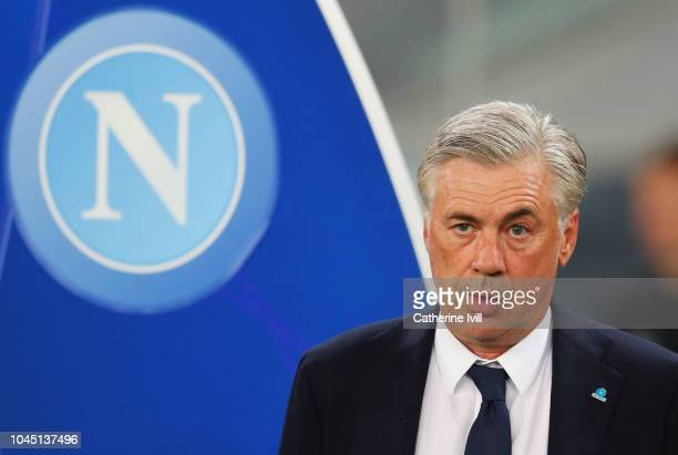 Carlo Ancelotti manager of Napoli looks on prior to the Group C match of the UEFA Champions League between SSC Napoli and Liverpool at Stadio San...