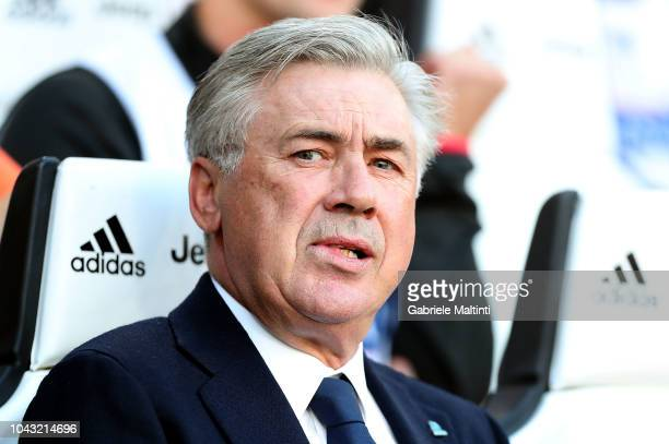 Carlo Ancelotti manager of SSC Napoli looks on during the Srie A match between Juventus and SSC Napoli at Allianz Stadium on September 29 2018 in...