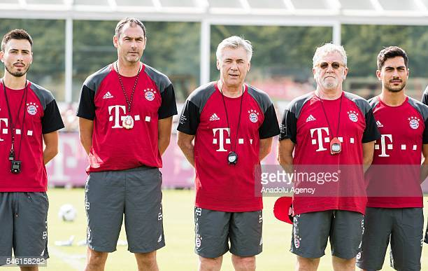 Carlo Ancelotti new head coach of FC Bayern Munich attends his first training session of FC Bayern Munich at Saebener Strasse training ground in...