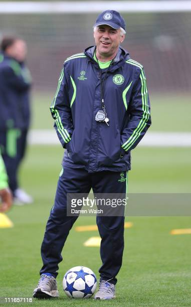 Carlo Ancelotti of Chelsea during a training session ahead of their UEFA Champions League Quarter-final first leg match against Manchester United, at...
