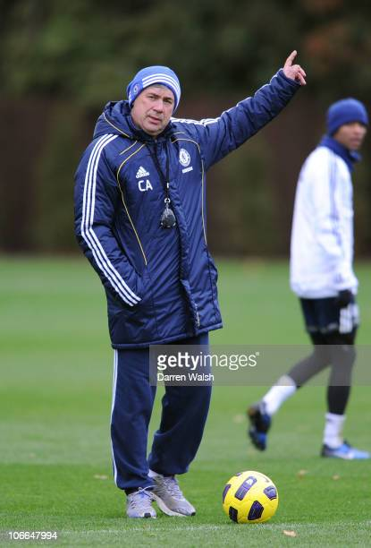 Carlo Ancelotti of Chelsea during a training session at the Cobham training ground on November 9, 2010 in Cobham, England.