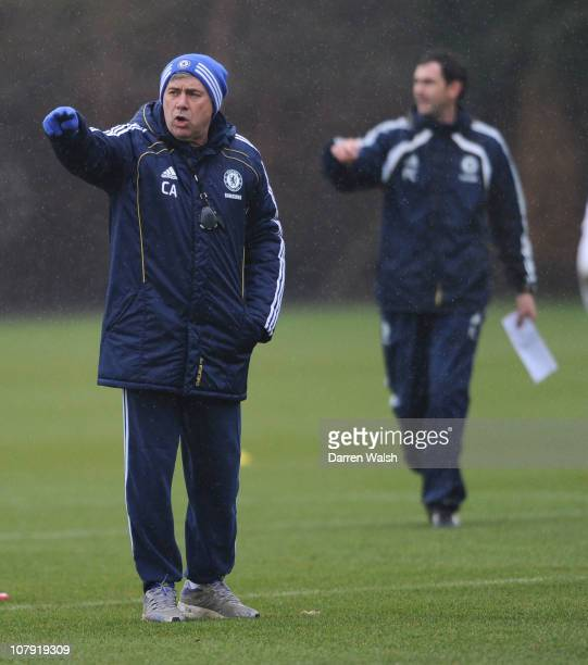 Carlo Ancelotti of Chelsea during a training session at the Cobham training ground on January 7 2011 in Cobham England