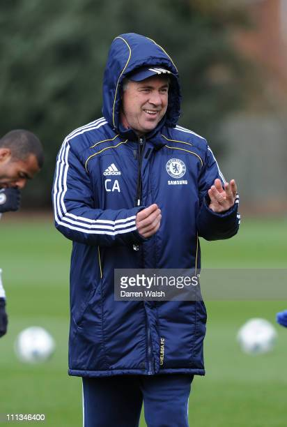 Carlo Ancelotti of Chelsea during a training session at the Cobham Training Ground on April 1 2011 in Cobham England
