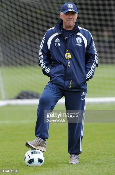 Carlo Ancelotti of Chelsea during a training session at the Cobham training ground on May 20 2011 in Cobham England