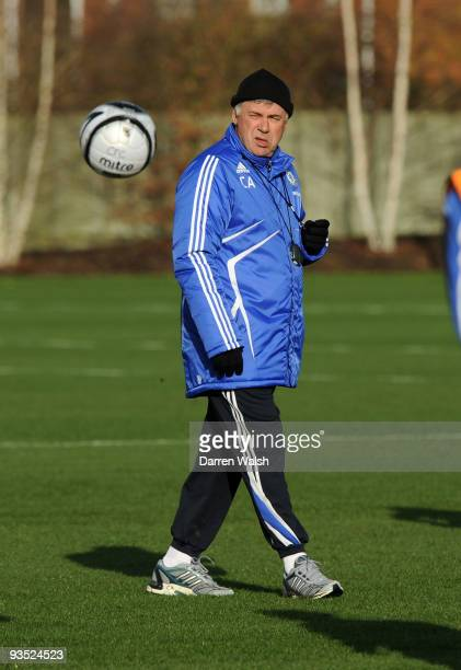 Carlo Ancelotti of Chelsea during a training session at the training ground on December 1, 2009 in Cobham, England.