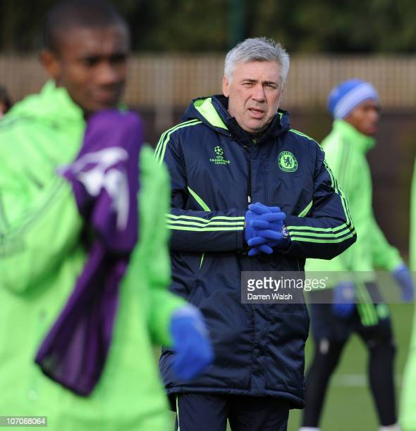 Carlo Ancelotti of Chelsea during the Chelsea training session, ahead of the UEFA Champions League Group F match against MSK Zilina at the Cobham...