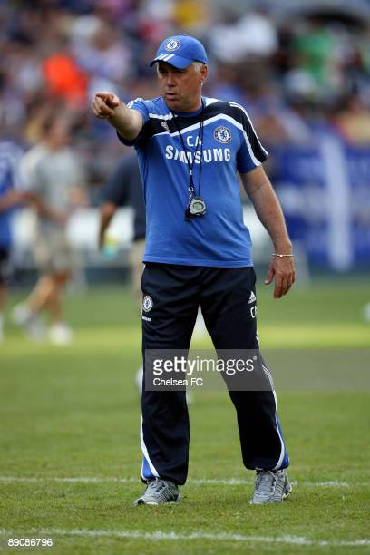 Carlo Ancelotti of Chelsea in action during a training session on July 17, 2009 at Qwest Field in Seattle, Washington.