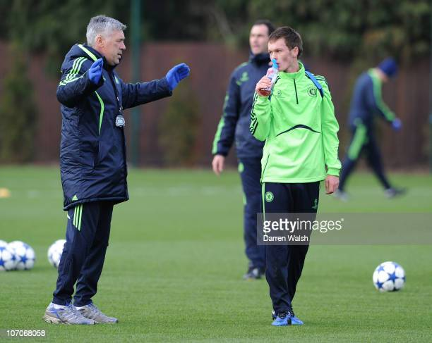 Carlo Ancelotti of Chelsea talks to Josh McEachran during the Chelsea training session, ahead of the UEFA Champions League Group F match against MSK...