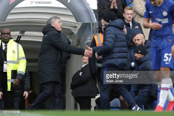 Carlo Ancelotti of Everton and Frank Lampard of Chelsea shake hands at the end of Chelsea's 40 win during the Premier League match between Chelsea FC...
