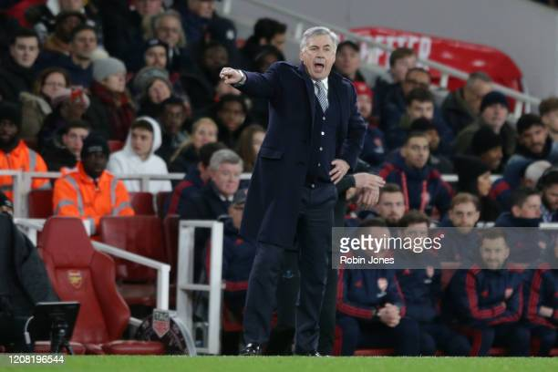Carlo Ancelotti of Everton during the Premier League match between Arsenal FC and Everton FC at Emirates Stadium on February 23 2020 in London United...