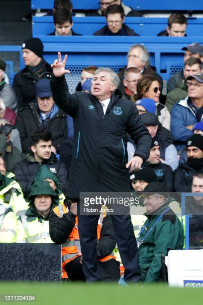 Carlo Ancelotti of Everton during the Premier League match between Chelsea FC and Everton FC at Stamford Bridge on March 08 2020 in London United...