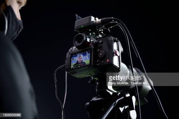 Carlo Ancelotti of Everton photographed through the back of a Panasonic Lumix S1H as he speaks to the media after the Premier League match between...