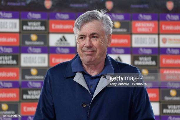 Carlo Ancelotti of Everton speaks to the media after the Premier League match between Arsenal v Everton at Emirates Stadium on April 23, 2021 in...