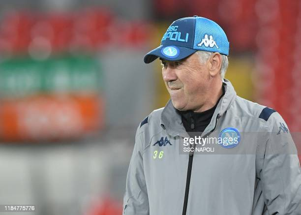 Carlo Ancelotti of Napoli during an SSC Napoli training session on November 26 2019 in Naples Italy