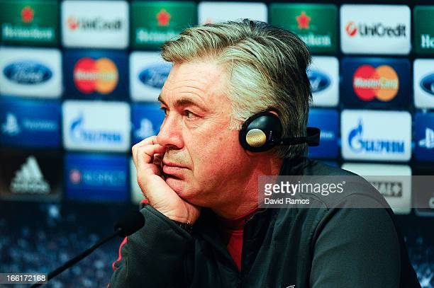 Carlo Ancelotti of Paris SaintGermain faces the media during a press conference ahead the UEFA Champions League quarterfinal second leg match between...
