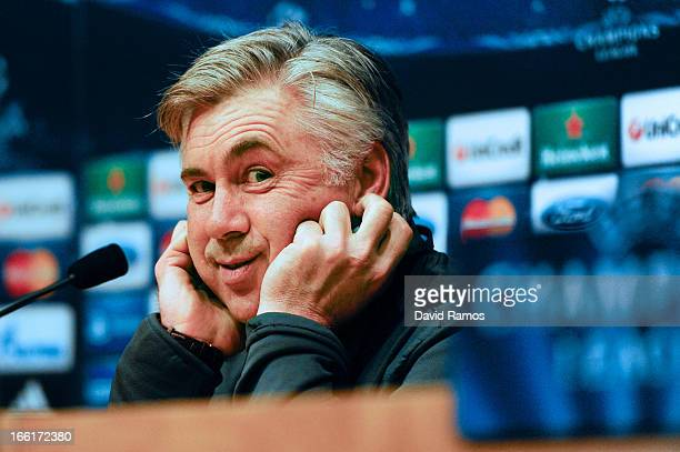 Carlo Ancelotti of Paris Saint-Germain speaks to the media during a press conference ahead the UEFA Champions League quarter-final second leg match...