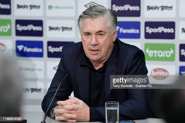 Carlo Ancelotti speaks to the media during the Everton FC press conference at USM Finch Farm on December 31 2019 in Halewood England