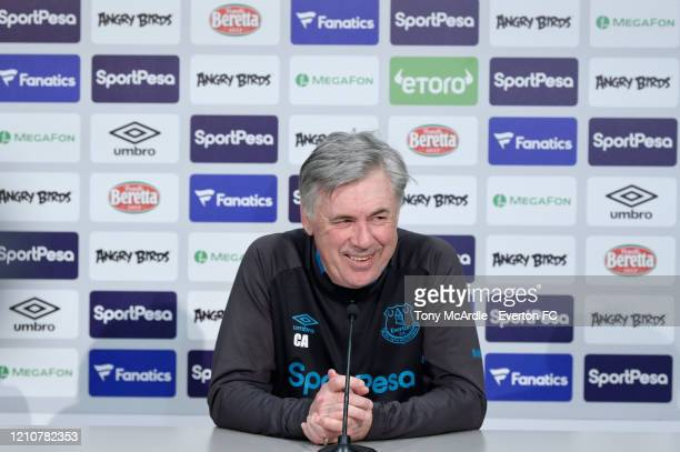 Carlo Ancelotti speaks to the media during the Everton Press Conference at USM Finch Farm on March 6 2020 in Halewood England