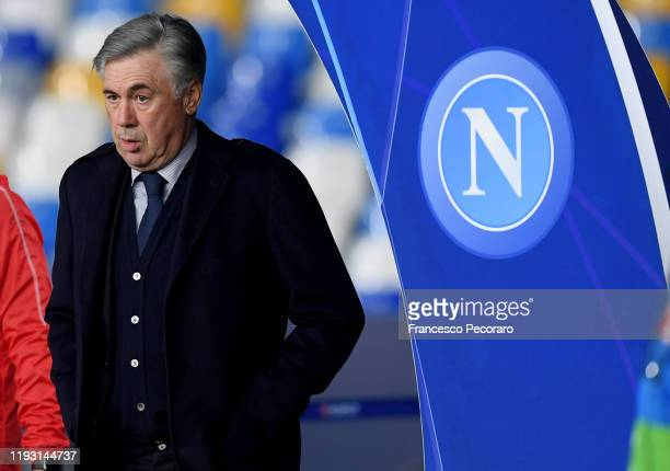 Carlo Ancelotti SSC Napoli coach before the UEFA Champions League group E match between SSC Napoli and KRC Genk at Stadio San Paolo on December 10...