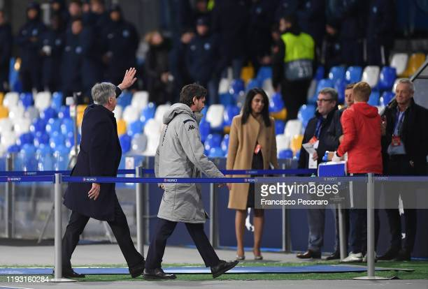 Carlo Ancelotti SSC Napoli coach greets SSC Napoli supporters after the UEFA Champions League group E match between SSC Napoli and KRC Genk at Stadio...