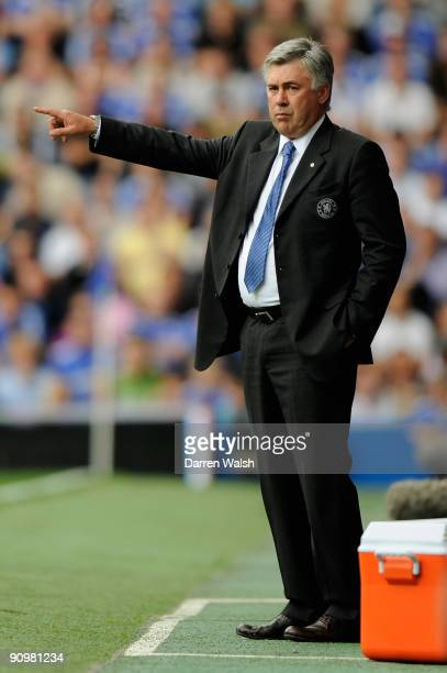 Carlo Ancelotti the Chelsea manager directs his players during the Barclays Premier League match between Chelsea and Tottenham Hotspur at Stamford...