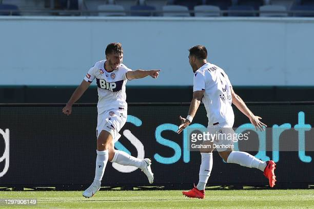 Carlo Armiento of the Glory celebrates his goal during the A-League match between Western United and the Perth Glory at GMHBA Stadium, on January 23...