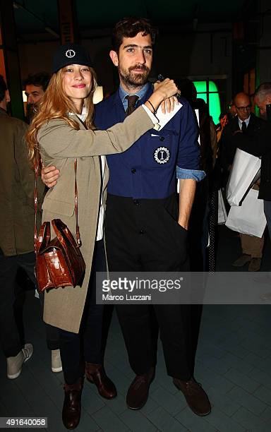 Carlo Borromeo and Beatrice Borromeo attend a press conference during the presentation of Garage Italia Customs New Headquarters on October 7 2015 in...