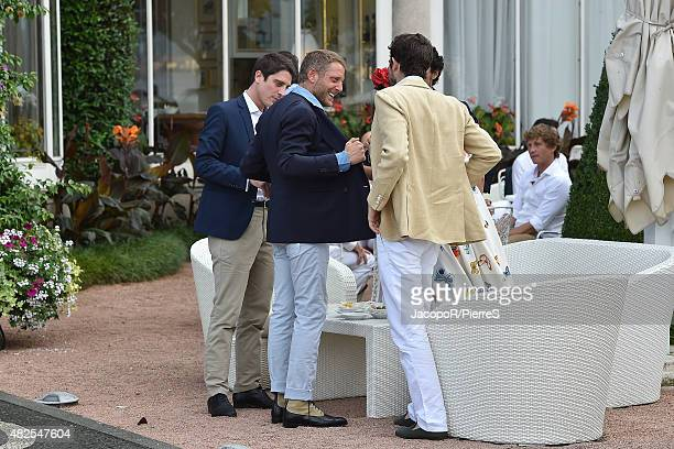 Carlo Borromeo and Lapo Elkann are seen on July 31 2015 in Stresa Italy