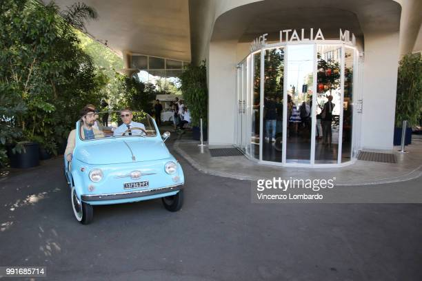 Carlo Borromeo and Lapo Elkann arrive at HAPPY BIRTHDAY FIAT 500 Event in Milan on July 4 2018 in Milan Italy