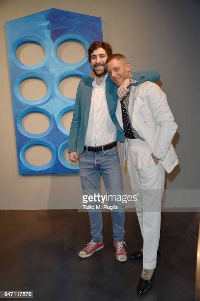 Carlo Borromeo and Lapo Elkann attend Blair Thurman Nella Acqua Azzurra Opening an event by Garage Italia e Gagosian on April 16 2018 in Milan Italy
