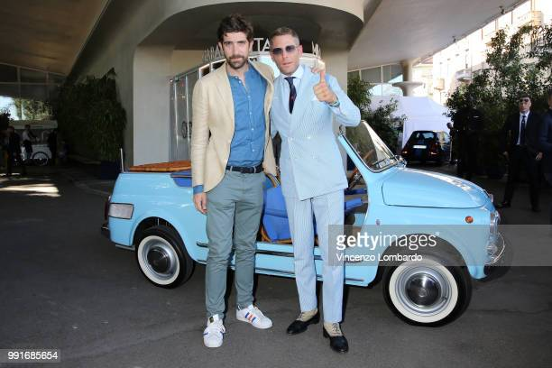Carlo Borromeo and Lapo Elkann attend HAPPY BIRTHDAY FIAT 500 Event in Milan on July 4 2018 in Milan Italy