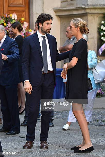 Carlo Borromeo and Matilde Borromeo arrive at Marta Marzotto funeral at church of Sant'Angelo on August 1 2016 in Milan Italy