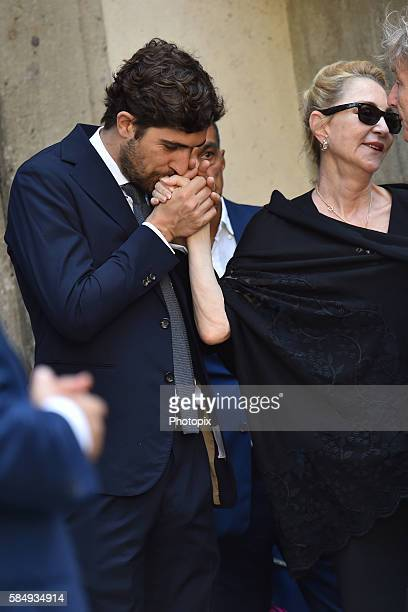 Carlo Borromeo and Paola Marzotto at Marta Marzotto funeral at church of Sant'Angelo on August 1 2016 in Milan Italy