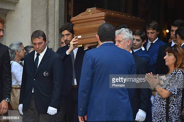 Carlo Borromeo and relatives carry the coffin at Marta Marzotto funeral at church of Sant'Angelo on August 1 2016 in Milan Italy