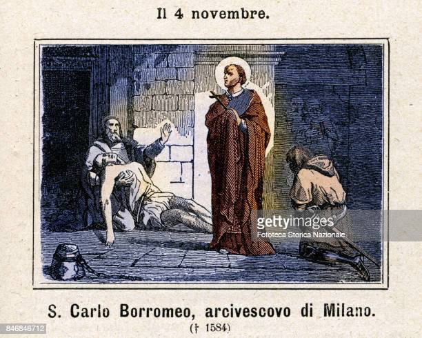 Carlo Borromeo was a Catholic Archbishop and Cardinal Commemoration on November 4 Colored engraving from Diodore Rahoult Italy 1886