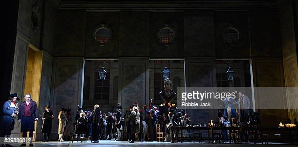 Carlo Bosi as Un incredibile Zeljko Lucic as Carlo Gerard Jonas Kaufmann as Andrea Chenier and Roland Wood as Roucher with artists of the company in...