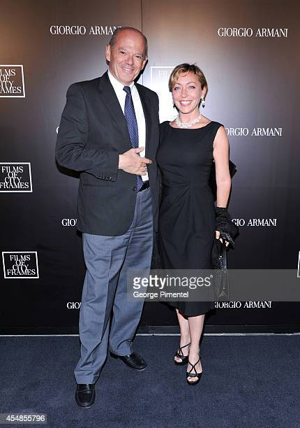 Carlo Brancaleoni and Fabiana Cutrano attend the Giorgio Armani Presents Films Of City Frames With Exclusive Cocktail Party At The CN Tower during...
