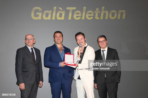 Carlo Brancaleoni, Edoardo De Angelis, Francesco Fachinetti and guests attend Telethon Gala during the 12th Rome Film Fest at Villa Miani on October...