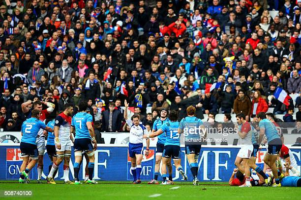 Carlo Canna of Italy celebrates after scoring a try during the RBS Six Nations match between France and Italy at Stade de France on February 6 2016...