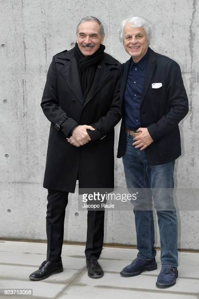 Carlo Capasa and Michele Placido attend the Giorgio Armani show during Milan Fashion Week Fall/Winter 2018/19 on February 24 2018 in Milan Italy