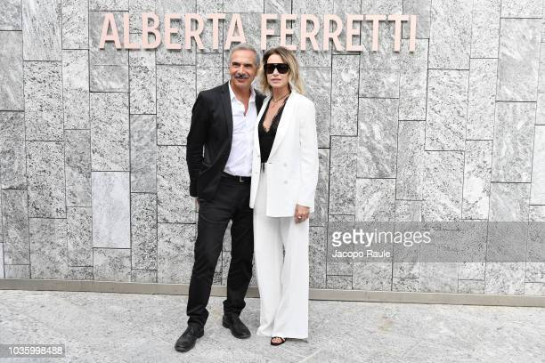 Carlo Capasa and Stefania Rocca attend the Alberta Ferretti show during Milan Fashion Week Spring/Summer 2019 on September 19 2018 in Milan Italy