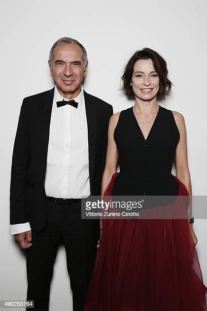 Carlo Capasa and Stefania Rocca pose at amfAR Milano 2015 at La Permanente on September 26 2015 in Milan Italy