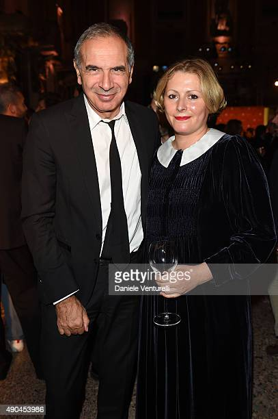 Carlo Capasa and Vivetta Ponti attend Vogue China 10th Anniversary at Palazzo Reale on September 28, 2015 in Milan, Italy.