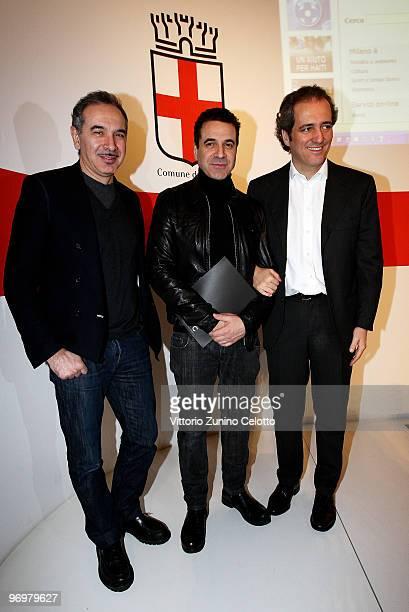 Carlo Capasa Ennio Capasa and Giovanni Terzi attend the Milan Loves Fahion Press Conference held at Palazzo Marino on February 23 2010 in Milan Italy