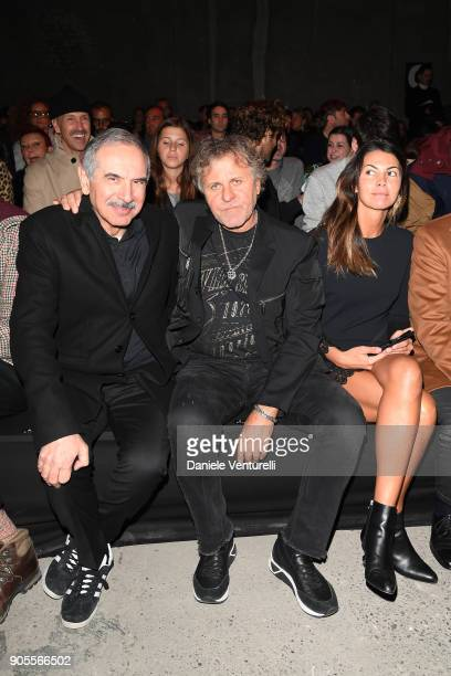 Carlo Capasa, Renzo Rosso and Arianna Alessi attend the Dsquared2 show during Milan Menswear Fashion Week Fall/Winter 2018/19 on January 14, 2018 in...