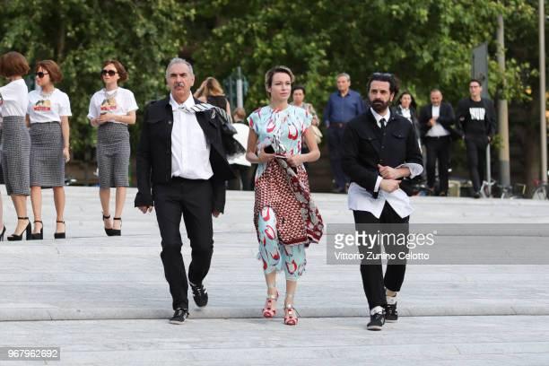 Carlo Capasa Stefania Rocca and Ennio Capasa arrive at Convivio 2018 on June 5 2018 in Milan Italy
