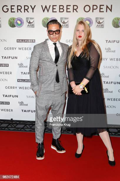 Carlo Castro and Julia Dittloff attend the Gerry Weber Open Fashion Night 2018 at Gerry Weber Stadium on June 23 2018 in Halle Germany