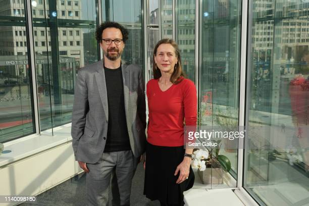 Carlo Chatrian and Mariette Rissenbeek pose during a photocall at the Berlinale offices at Potsdamer Platz on April 03, 2019 in Berlin, Germany....