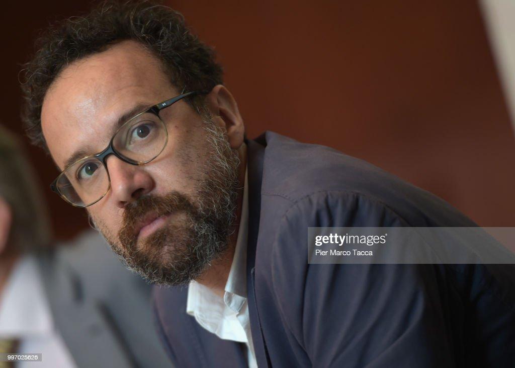 Carlo Chatrian, Artistic Director of the Festival of the film Locarno attends the 2018 Locarno Film Festival Press Conference at Centro Svizzero on July 12, 2018 in Milan, Italy.