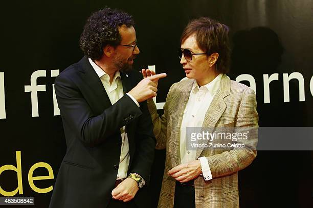 Carlo Chatrian Michael Cimino attend the Pardo D'Onore Swisscom red carpet on August 9 2015 in Locarno Switzerland